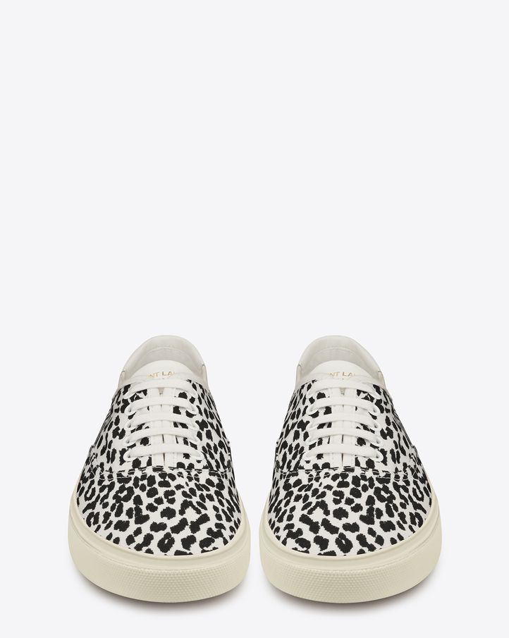 be242cc1b04 Saint Laurent Skate Lace-Up Sneaker in White and Black Babycat Printed  Canvas