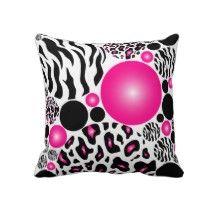 Hot Pink Zebra and Lepard Print Throw Pillow