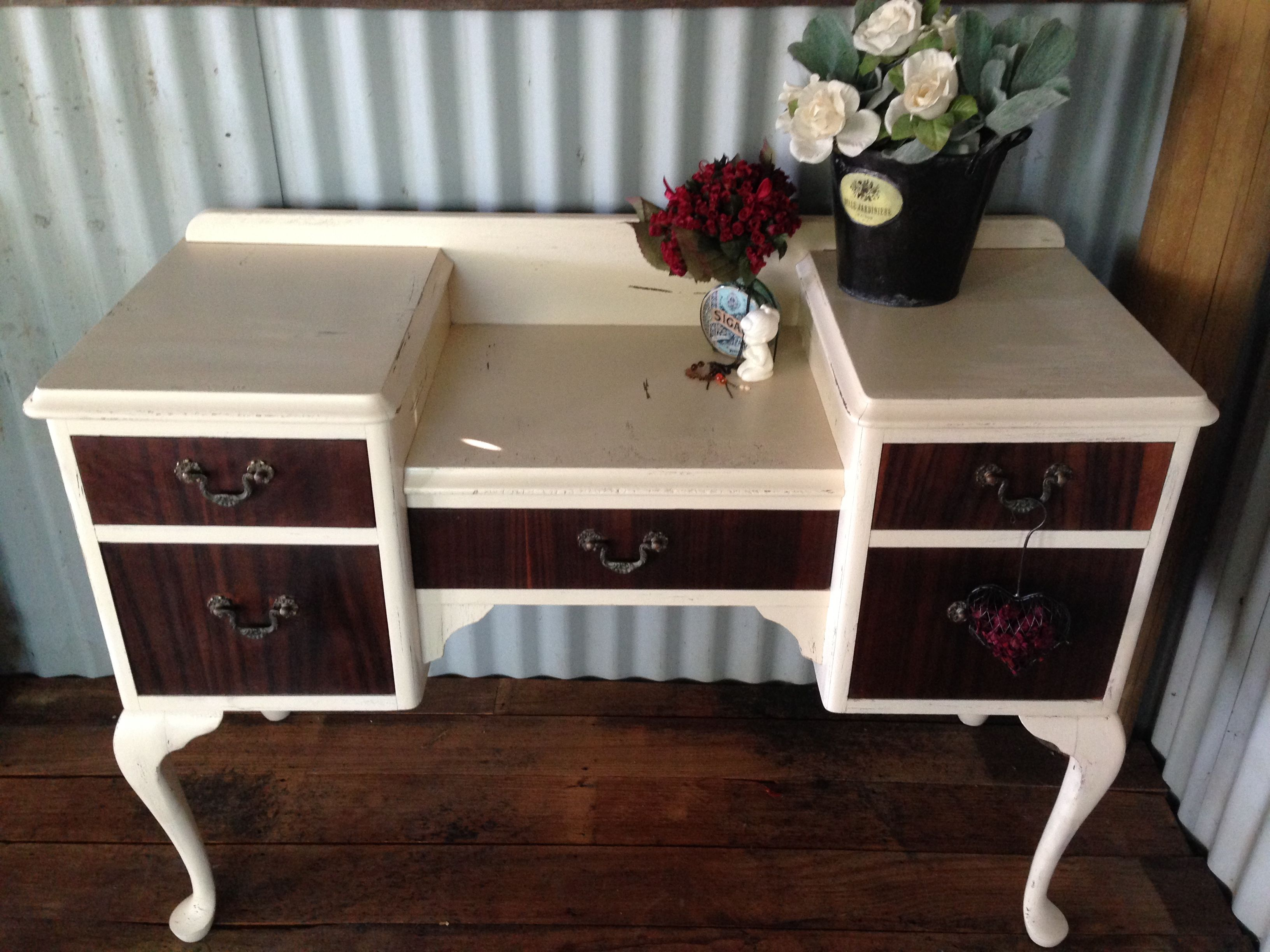 Shabby chic dresser with cabriole legs $160 More furnitur available @ www.facebook.com/groups/VintageReclaimed