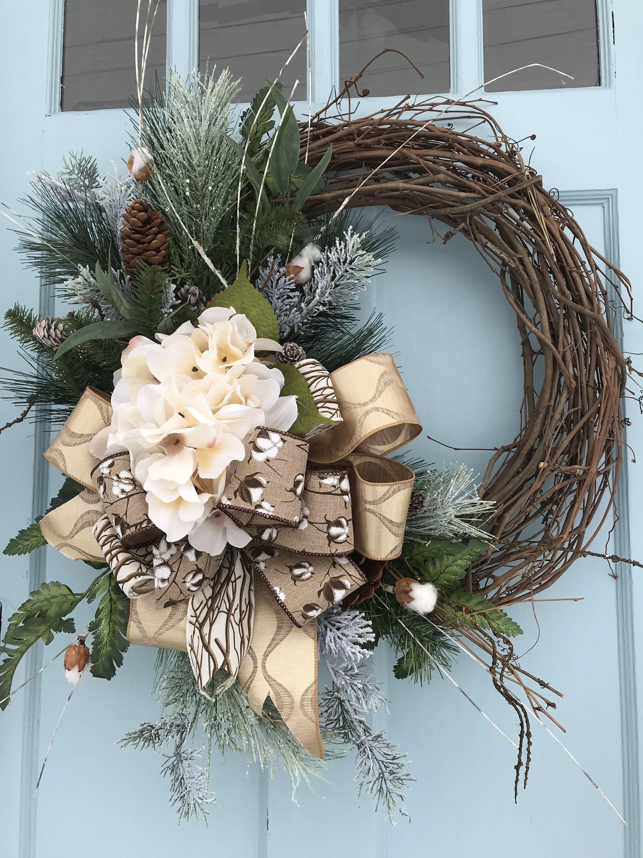 Winter Wreath with White Cream Hanger 14 inch Grapevine Wreath Fall Autumn White Cream Burlap Flower Sparkle Gold Brown Berries Decor