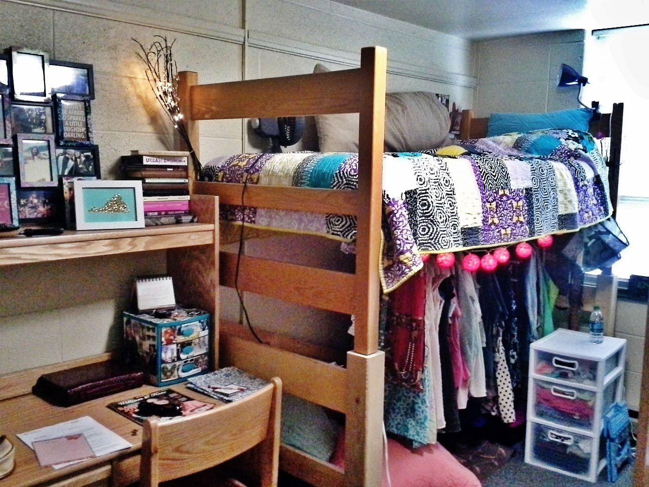 Dorm Room At Lehigh! Bed Lofts Make Amazing Closet Space!