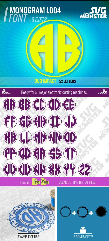 DUO Cercle Monogramme Svg Presse De La Police Lettres Alphabet Coupe Chaleur Transfert Cricut Dxf Silhouette Cadre 2 Deux