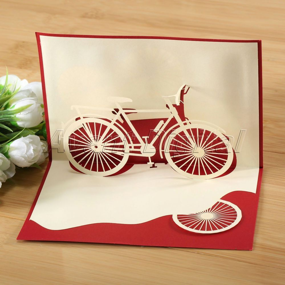 3d Pop Up Card Bicycle Birthday Christmas Holiday Season S Greeting