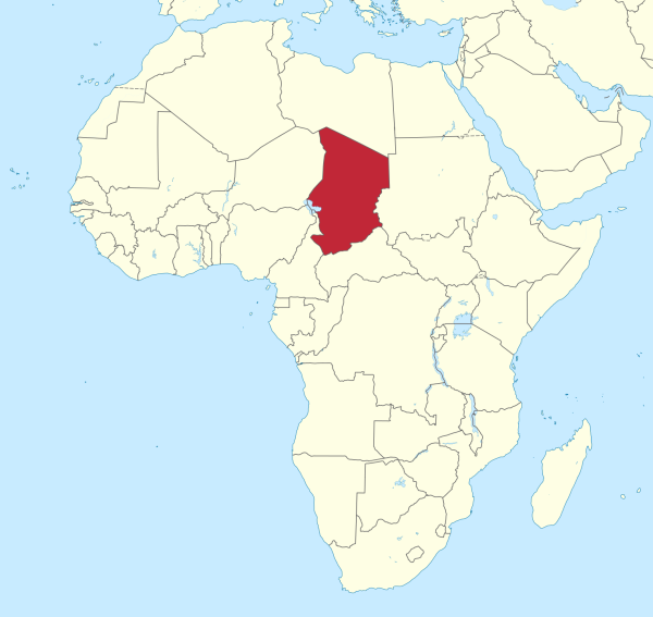 Location of Chad in northcentral Africa Map courtesy of Wikimedia