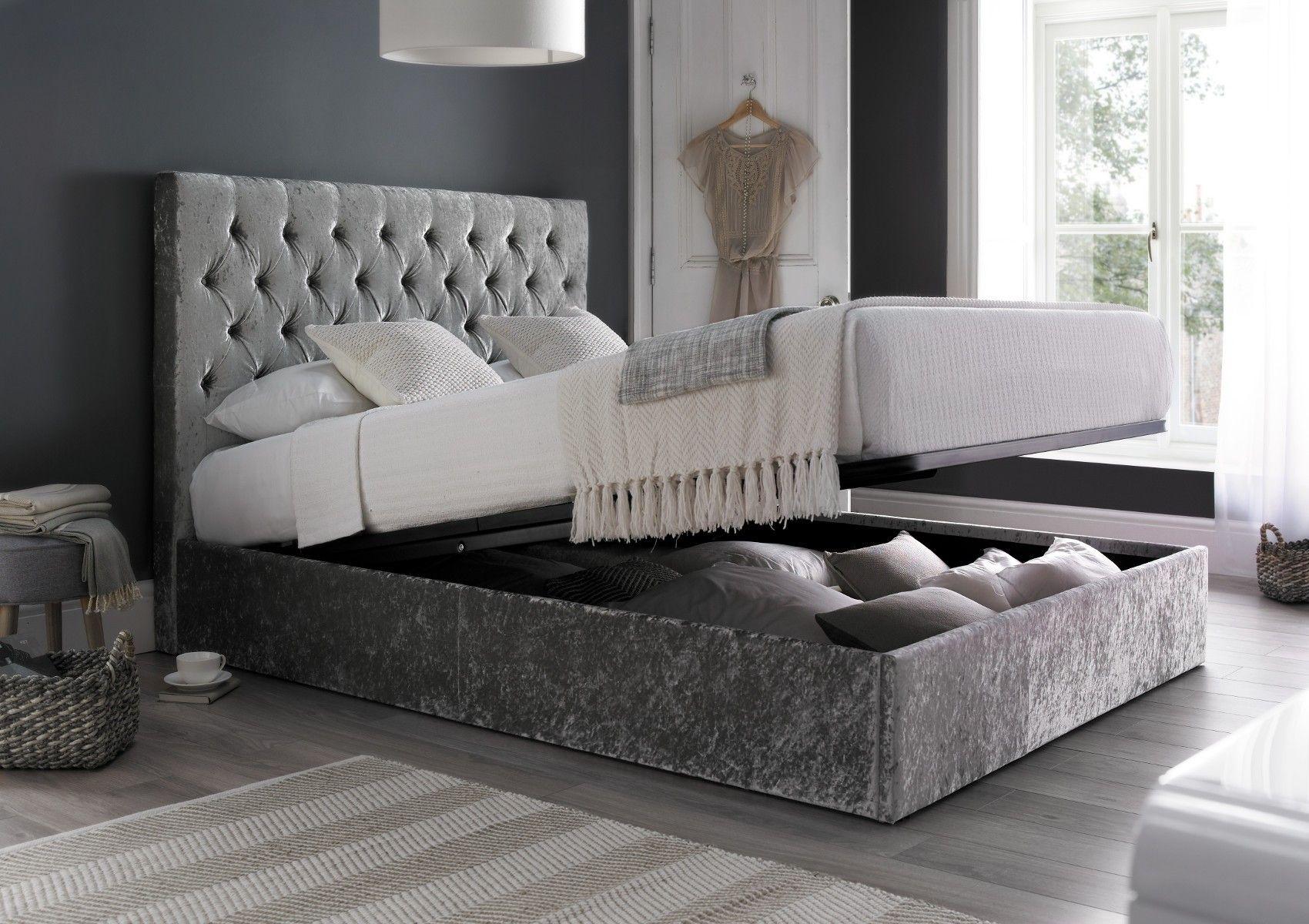 Sapphire Upholstered Ottoman Storage Bed - Glitz Silver - Ottoman ...