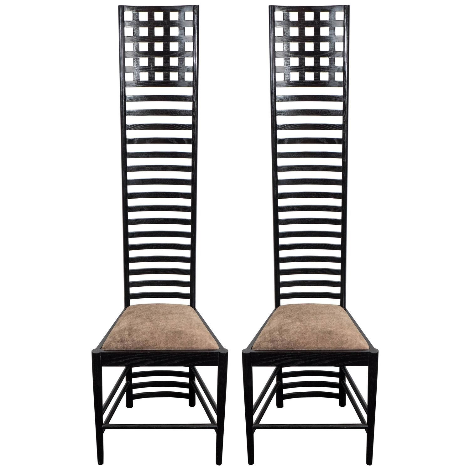 Attrayant Pair Of Mackintosh U0027Hill Houseu0027 Ladder Back Chairs With Suede Seats
