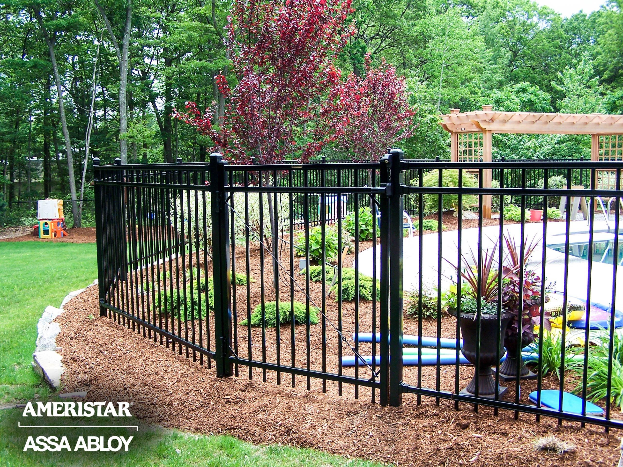 Black Classic Wrought Iron Fence And Gate In Backyard Ameristar Montage Fenced Wrought Iron Pool Fence Wrought Iron Fences Iron Fence