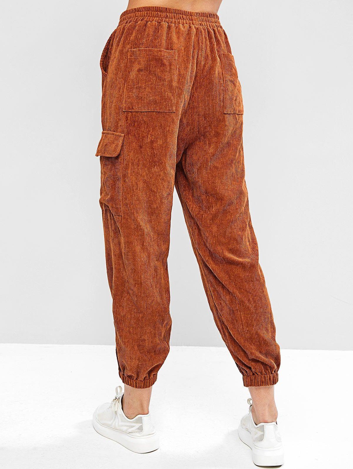 Zaful Corduroy Mid Waisted Pocket Jogger Pants Wood