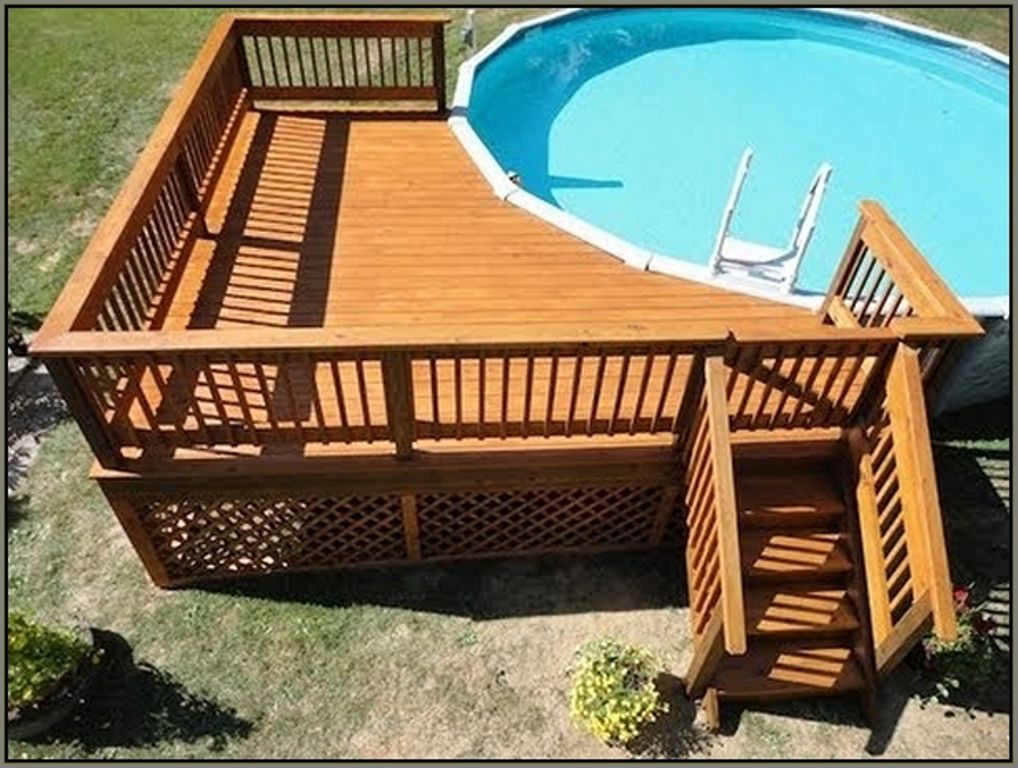 Deck plans for round above ground pools google search for Wood pool deck design