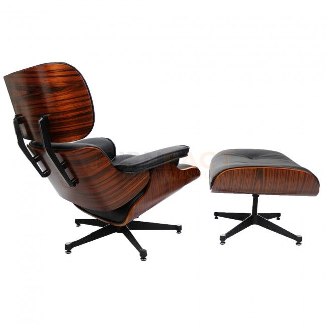 Eames Lounge Chair Set Palisanderholz Inklusiv Fußhocker   Schwarzes Leder