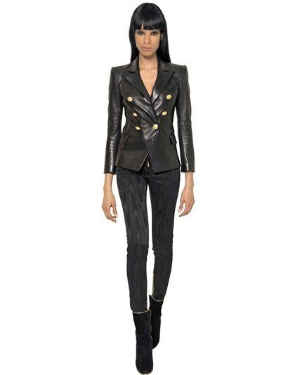 Nappa Breasted Double Luisaviaroma Balmain Jacket Leather wvE5FPFq