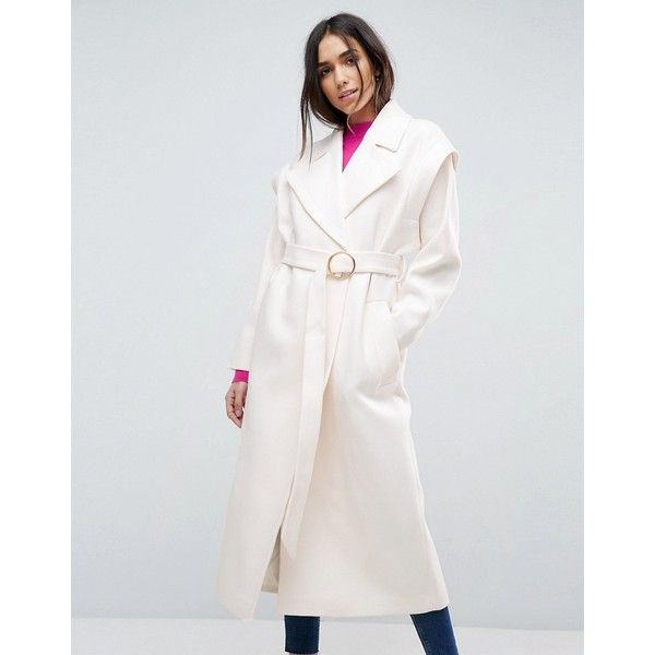 ASOS Belted 80's Coat With Batwing Sleeve (€95) ❤ liked on