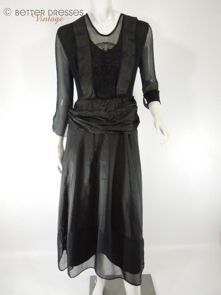 10s Dress in Beaded Black Silk - sm