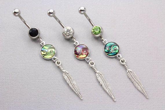 Boho Jewelry Boho Body Jewelry. Hippie Navel Piercing Yin Yang Belly Ring Silver Yin Yang Jewellery Navel Piercing Bohemian Navel Bar