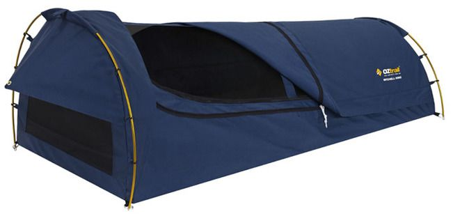 C&ing Central Australiau0027s OZtrail Mitchell Blue single canvas swag is very tough and reliable. The open-cell foam mattress has a 6cm high density.  sc 1 st  Pinterest & Oztrail mitchell king single canvas ( navy blue ) dome swag ...