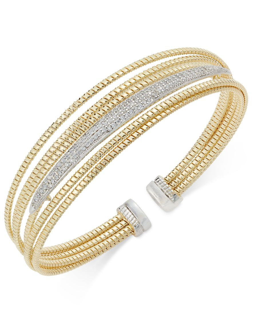 Diamond multilayer twotone bracelet ct tw in k gold