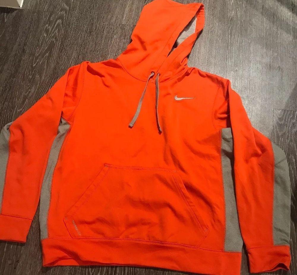Nike Therma Fit Orange And Gray Hooded Sweatshirt Hoodie Pullover Mens Medium Fashion Clothing Shoes Ac Grey Pullover Hoodie Hooded Sweatshirts Sweatshirts [ 925 x 1000 Pixel ]