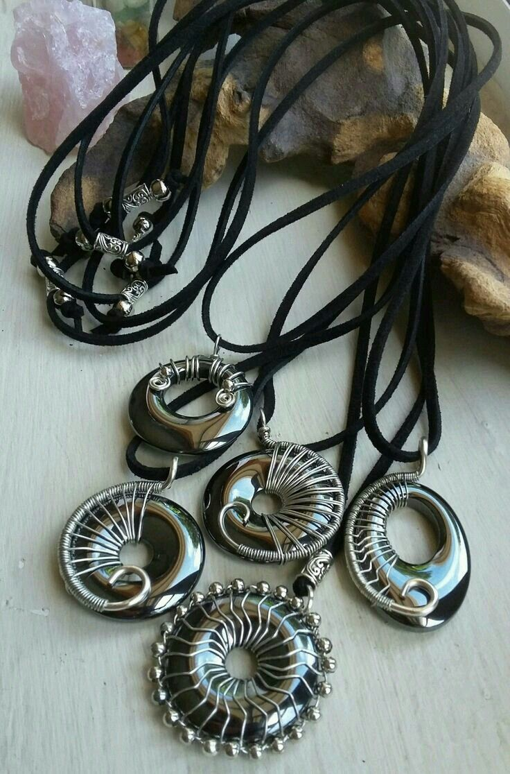 Hematite donuts wire wrapped on leather thong   Jewelry Inspirations ...