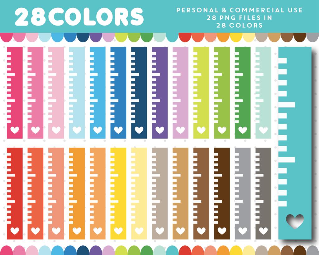 Ruler Clipart In 28 Rainbow Colors Cl 1272 Clip Art Rainbow Colors Digital Paper