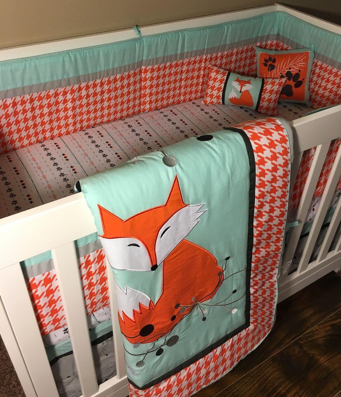 Dkl Designs Clever As A Fox Crib Bedding Set Crib Bedding Boy Fox Crib Bedding Crib Bedding Sets