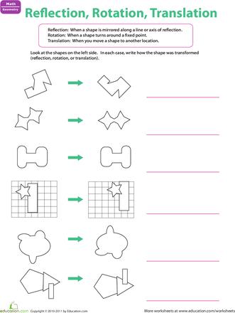 reflection rotation translation  education ideas  pinterest  worksheets reflection rotation translation
