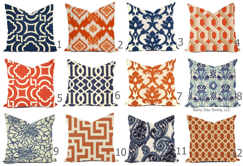 Outdoor Pillow Covers Or Indoor Custom Navy Royal Blue Indigo Orange Tangerine Ivory 16x16 18x18 Modern Ikat Geometric Outdoor Pillow Covers Pillows Designer Throw Pillows
