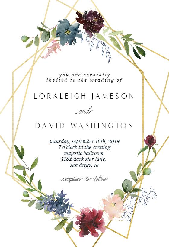 Geometric Flowers Wedding Invitation Template Free G Bridal Shower Invitations Templates Housewarming Invitation Templates Wedding Invitation Templates