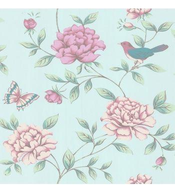 Papel pintado romantico con flores rosas grandes y pajaros for Vendo papel pintado