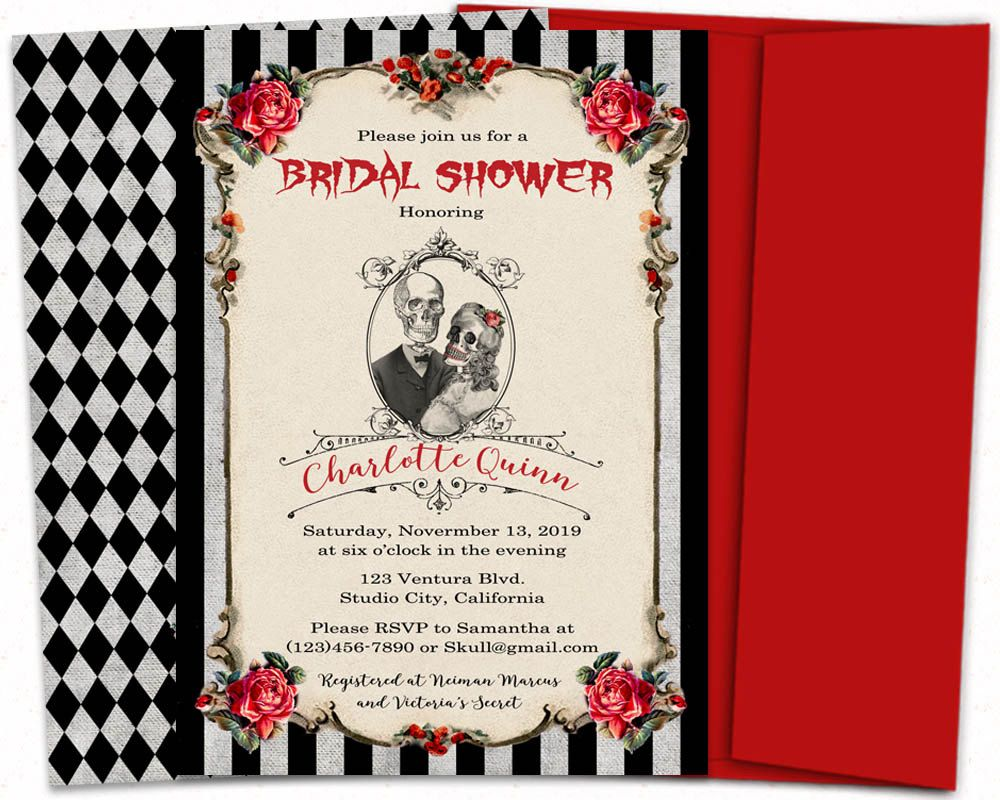 Gothic bridal shower invitation, Nightmare before christmas wedding ...