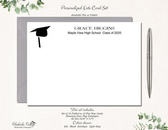 Photo of Personalized Graduation Thank You Cards Set with Envelopes, High School Graduation Cards, Class of 2