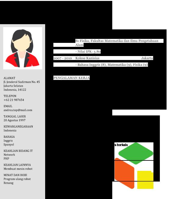 Contoh Template Cv Download Cv Format Doc Dan Pdf Cv Kreatif Template Bahasa