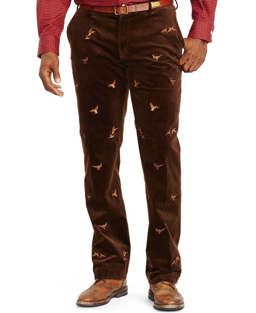 75683298e8da8f Polo Ralph Lauren Classic-Fit Embroidered Stretch-Corduroy Pants ...