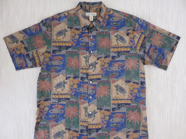983795e7 Hawaiian Shirt TORI RICHARD Vintage Aloha Shirt Turtles Fish Tropical  Mosaic Print Beach 100% Cotton Mens Camp - XL - Oahu Lew's Shirt Shack by  ...