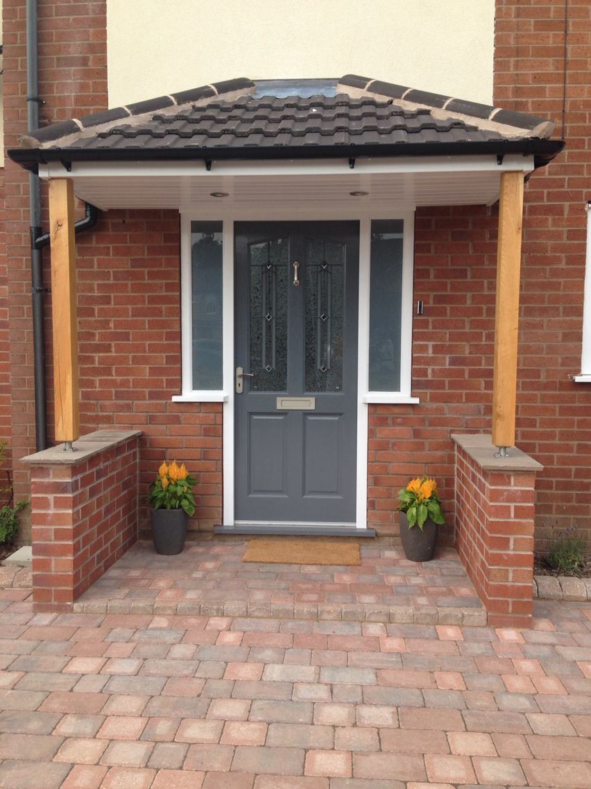 Richmond style front door. Painted in Gallant Grey by Dulux. Porch canopy supported by : door porch - Pezcame.Com