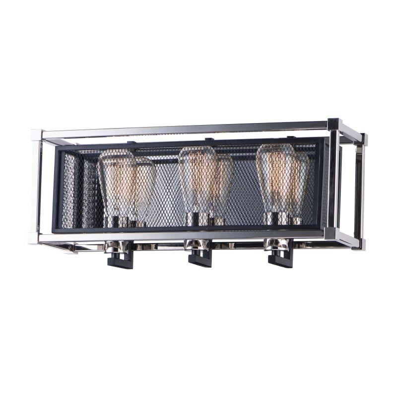 "Photo of Maxim 12153 Refine 3 Light 21 ""Wide Bathroom Basin Light Black / Polished Nickel Interior Lighting Bathroom Faucets Basin Light"