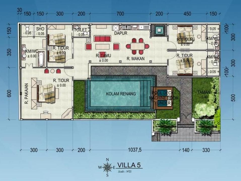 Bali Villa Layout 001 Kolam Renang Rumah Impian Kolam