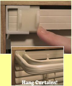 Slide On Curtain Brackets - they simply slide on to the ends of mini blinds, replacing wall-mounted curtain brackets their holes. Wow!