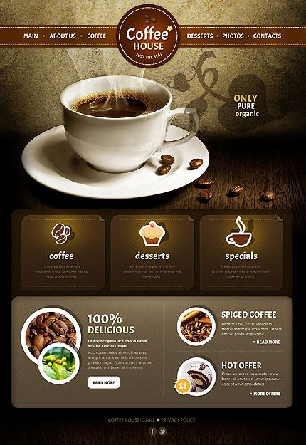 Cafe And Restaurant Web Template 39035 Jpg 430 625 Restaurant Web Cafe Website Design Cafe Website