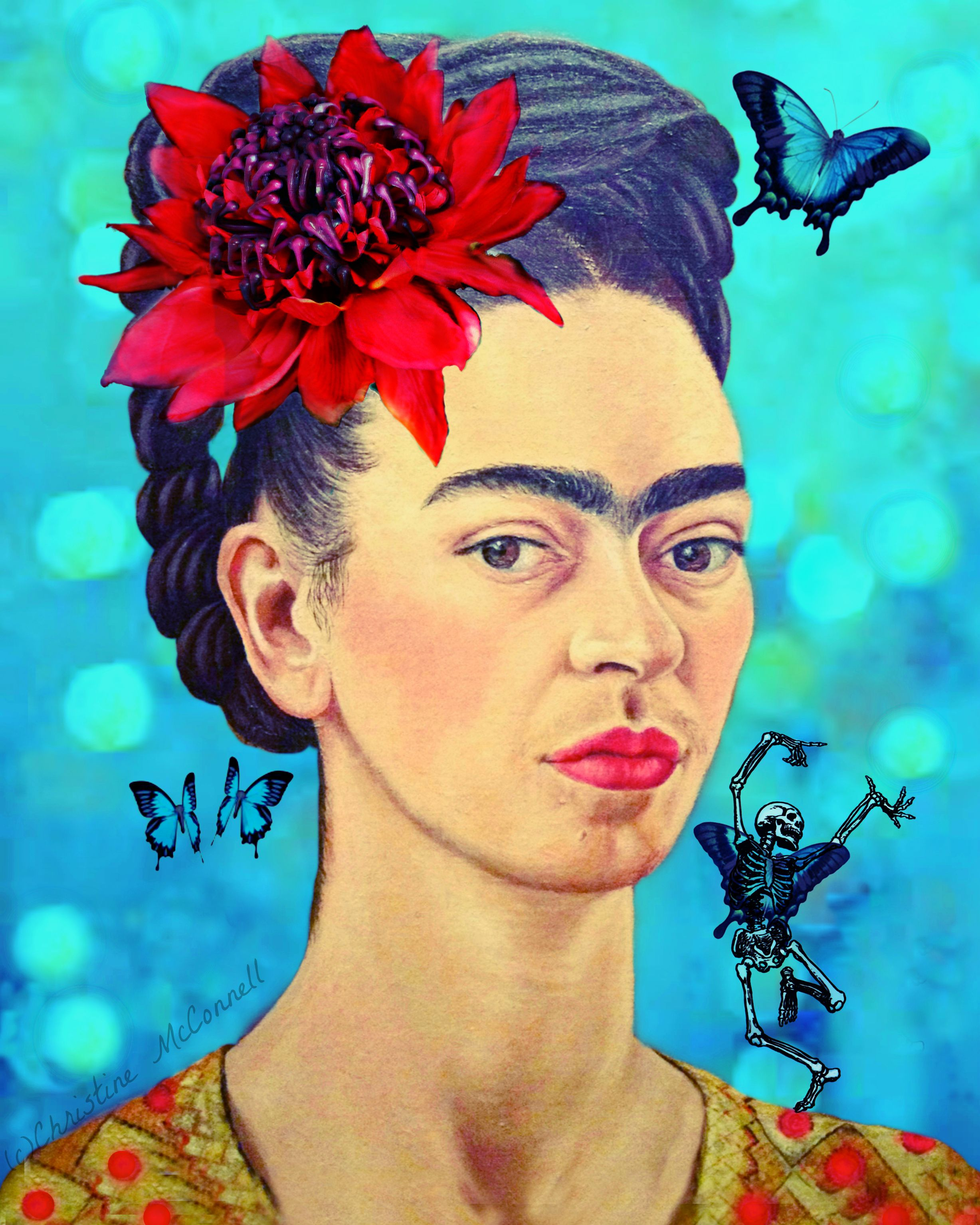 frida kahlo art print with waratah butterflies and dancing skeleton available from. Black Bedroom Furniture Sets. Home Design Ideas