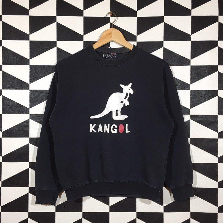 Vintage 90s Kangol Sport Small Logo Embroidery Sweatshirt Crewneck Kangol Pullover Jumper Kangol Blue and Grey Colour M Size