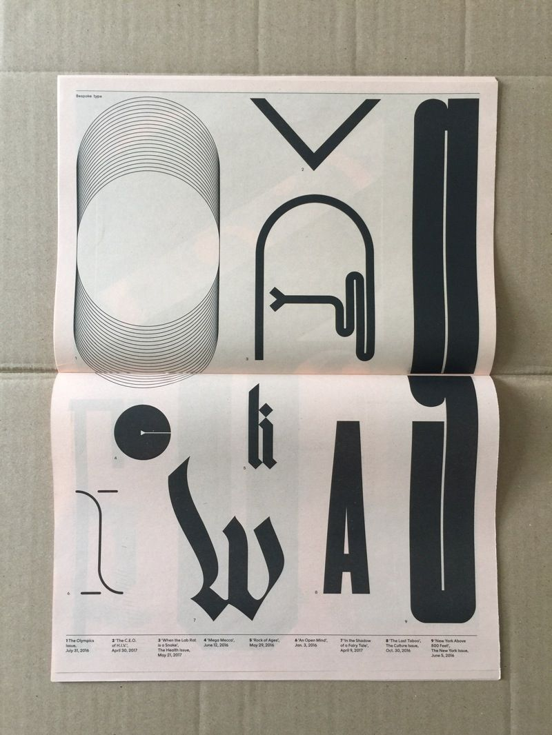 To accompany a show at the Type Directors Club, the NYT Magazine has produced a small publication that collects together some of its bespoke type highlights created since its 2015 redesign