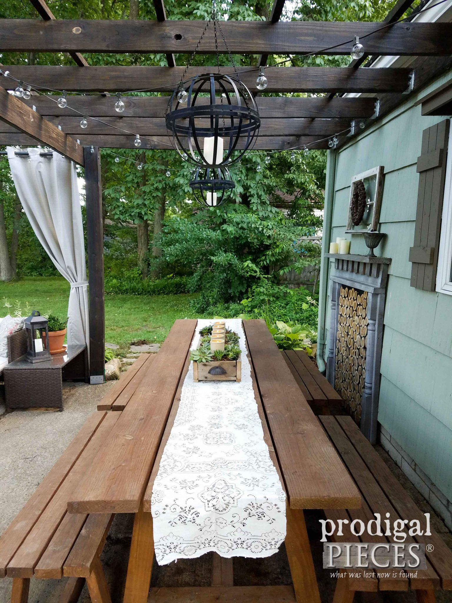 Patio Dining Table with DIY Succulent Centerpiece