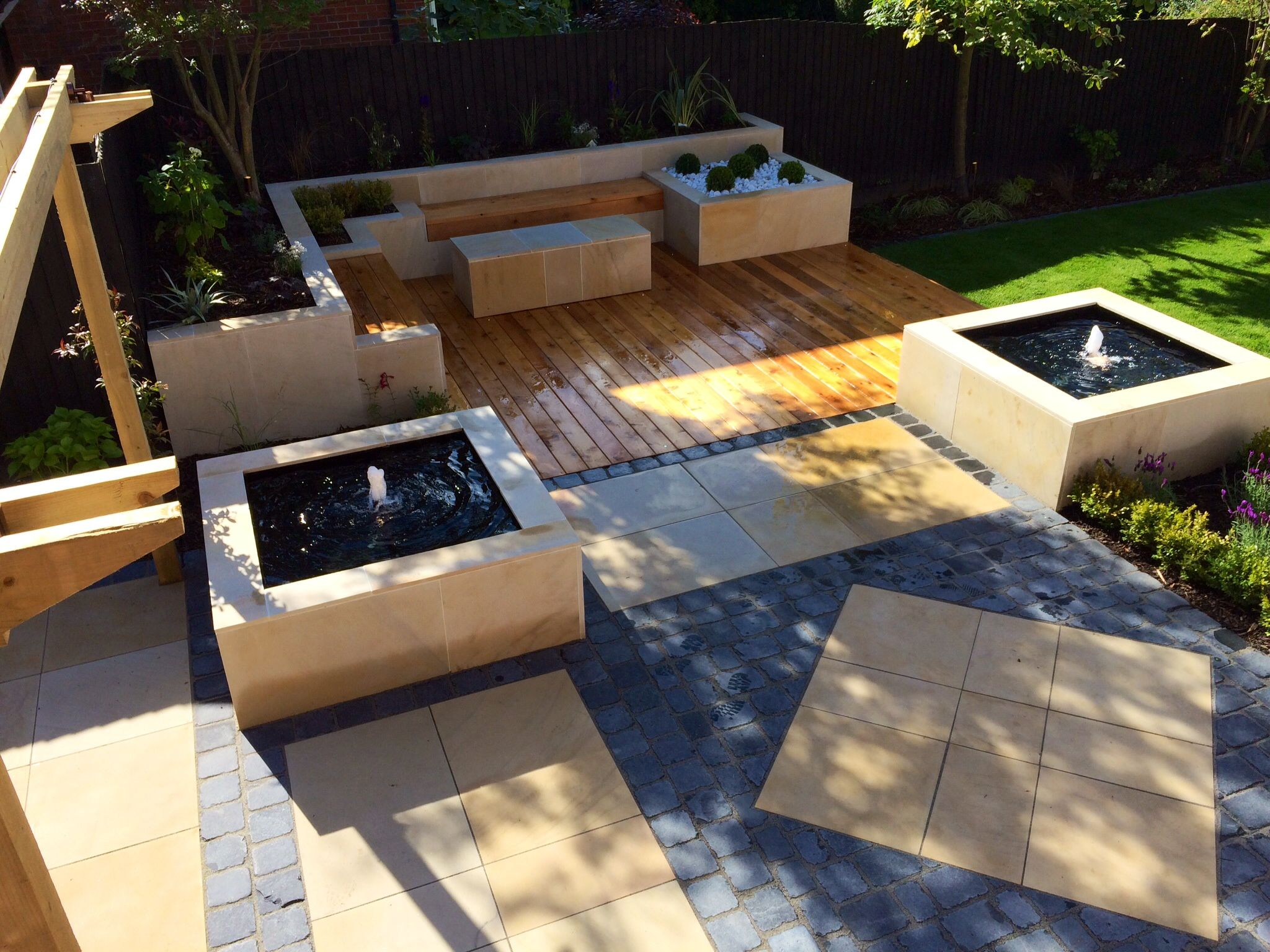 ivory sandstone flagstones modern patio landscaping