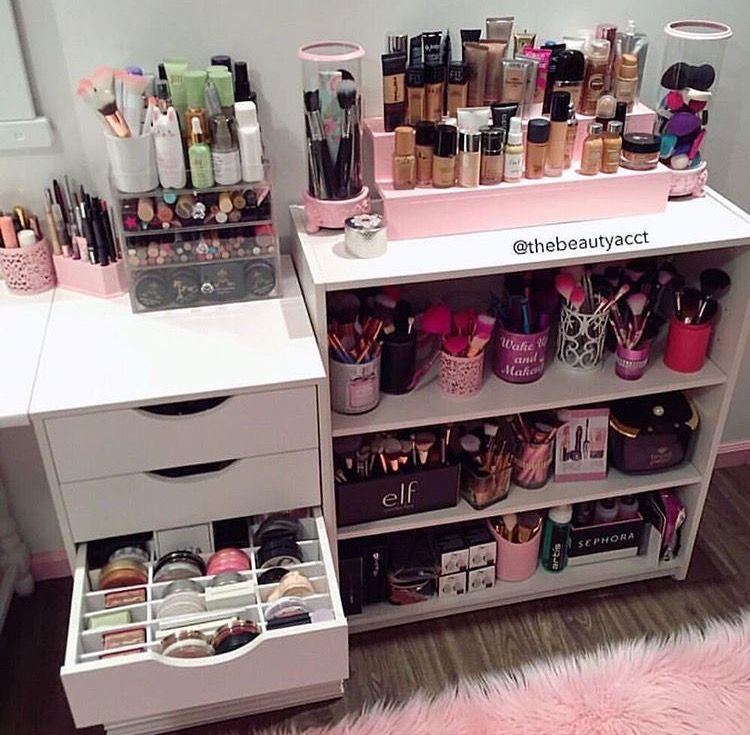 Xo brooklyn home interior pinterest makeup for Makeup dresser drawers