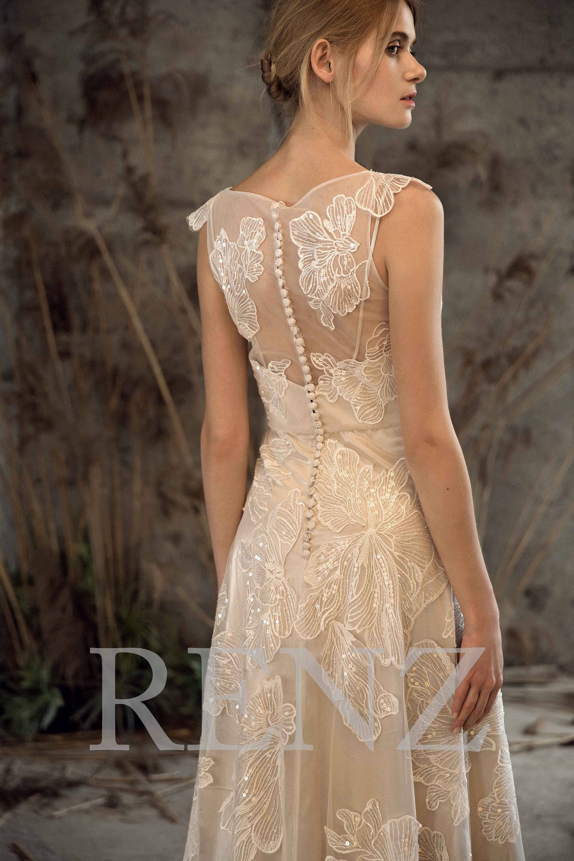 Wedding dress v neck bridal dressoff white sequined lace dress