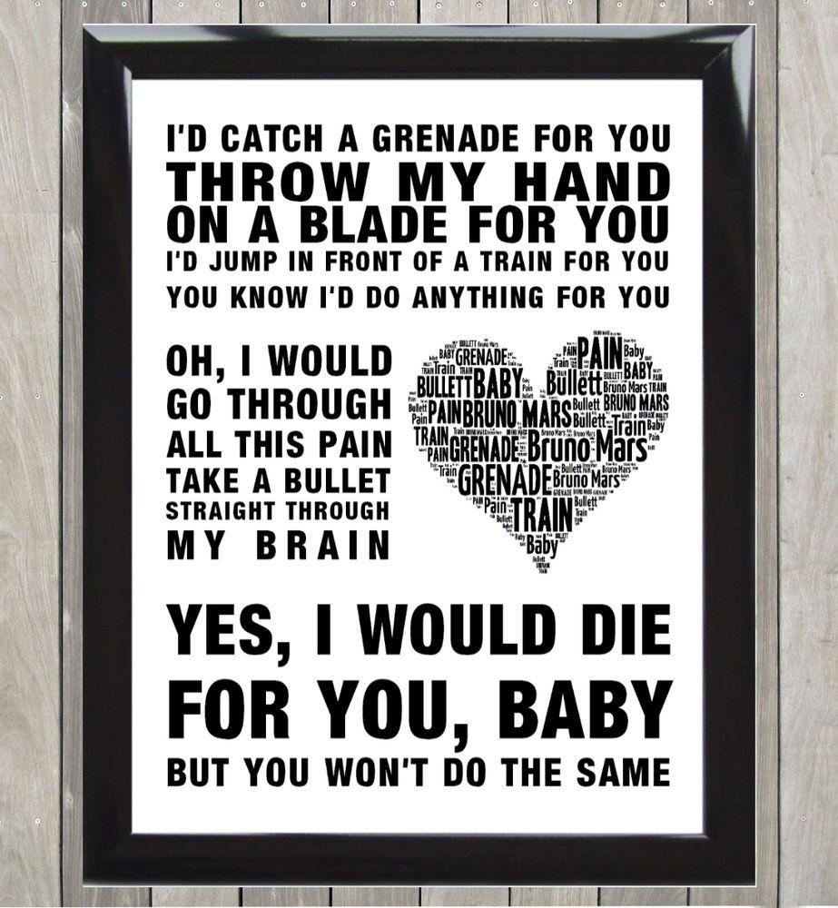 Grenade Bruno Mars Word Art Poster Lyrics Typography More Colours Frames Fondos De Teléfono Tumblr Fondos De Telefono Canciones