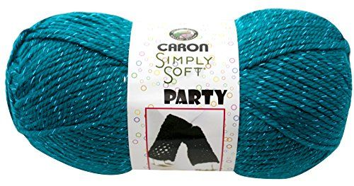 Caron Simply Soft Party Yarn 3 Ounce Teal Sparkle Single Ball