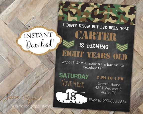 INSTANT DOWNLOAD Army Birthday Invitation By JanePaperie