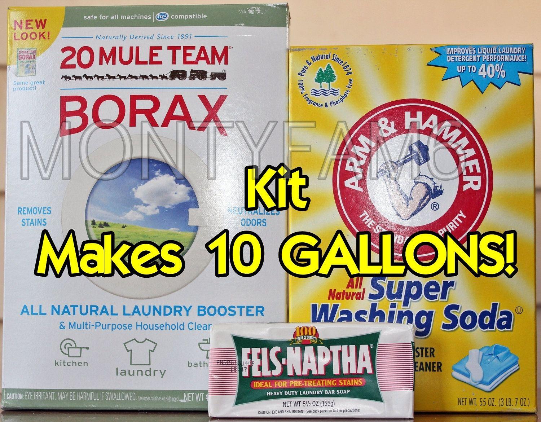 10 Gal Kit Fels Naptha Washing Soda Borax Homemade Laundry Soap