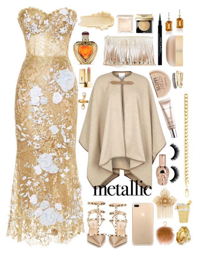 """""""Gold Metal"""" by celeste-menezes ❤ liked on Polyvore featuring Marchesa, Rebecca Minkoff, Valentino, MaxMara, Bobbi Brown Cosmetics, Victoria's Secret, Jouer, Miriam Haskell, MICHAEL Michael Kors and Givenchy"""
